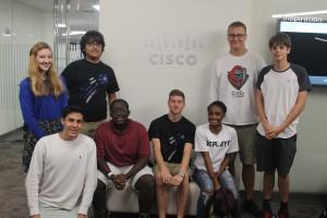 Students under CISCO sign
